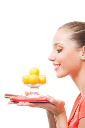 young positive woman look forward to win competition in table tennis photo