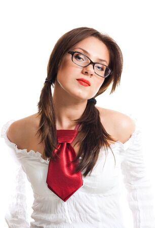 school girl sexy: Proud attractive beautiful woman wear glasses Stock Photo