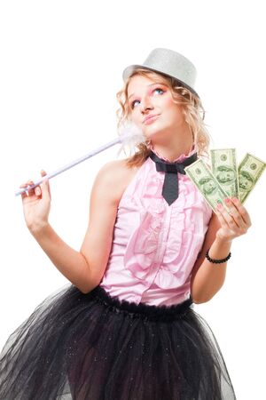 Positive blond woman illusionist with dollars isolated on white photo