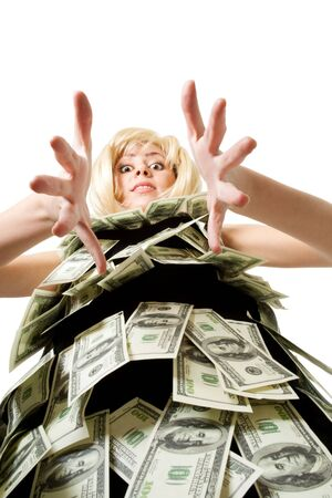 Woman in dress made of dollars look at camera unusual view photo