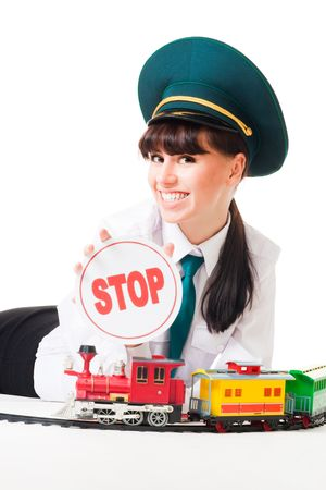 hand rails: Positive railroad woman dispatcher show stop, isolated on white