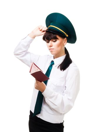 Confused customs worker woman stand with passports Stock Photo - 6367864