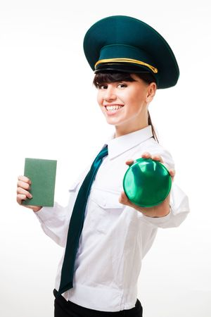 passed: Passport control check passed - customs control woman with smile Stock Photo