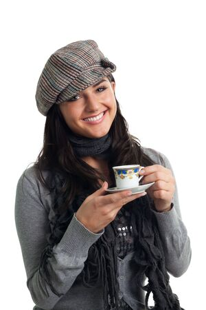 Young woman smile with cup of coffee, isolated on white photo