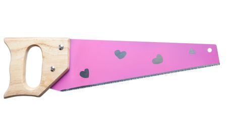 pink girls tools handsaw with hearts on it photo