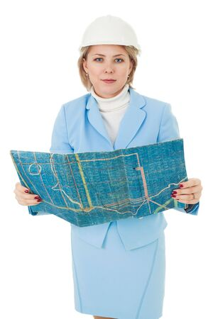 Woman engineer stand with blueprint and look at camera photo