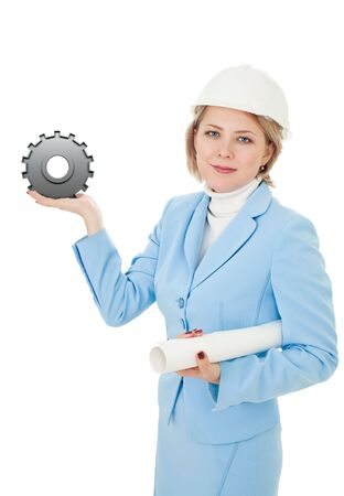 Engineer holding gear showing the concept of success photo
