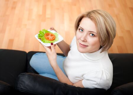 Woman follow healthy lifestyle eating fresh photo