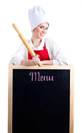 Chef with rolling pin show menu on blackboard Stock Photo