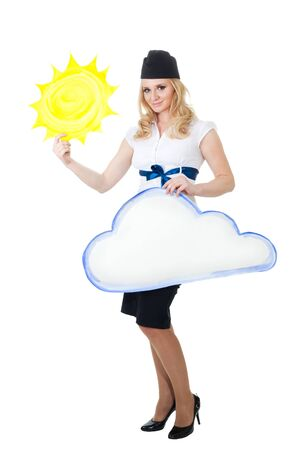 weather report: Good weather forecast - television woman with sun and cloud