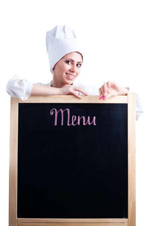 Happy woman cook show menu blackboard, isolated on white photo