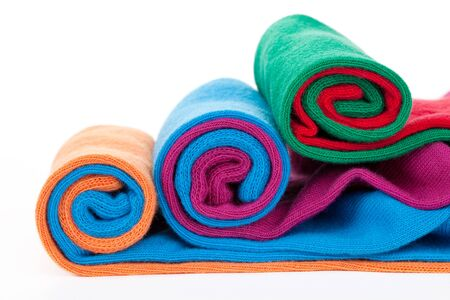 differed: Three differed color socks rolls isolate on white