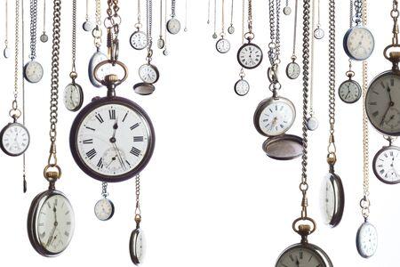 horloge ancienne: Bon nombre des horloges de style ancien sur cha�ne montre de poche  Banque d'images