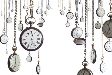 Many pocket old style clocks on watch chain photo