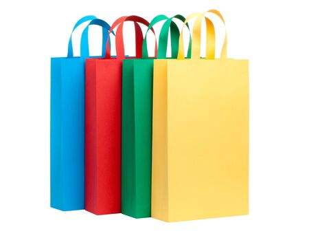 Assorted colored shopping bags in a row photo