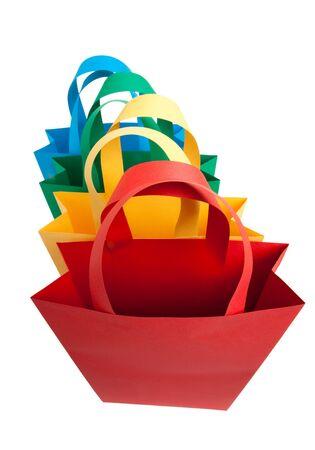 bolsa supermercado: Cuatro bolsas de compra de diferentes colores azul verde amarillo y rojo