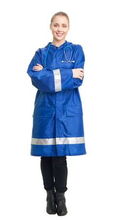 Happy nurse smile and look at camera, isolated on white Stock Photo - 7254254