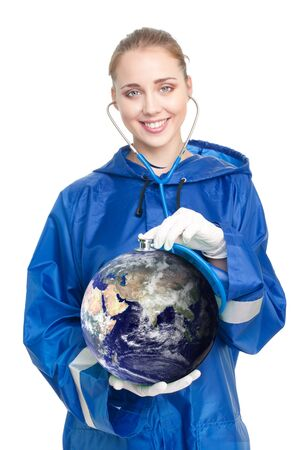 Happy woman doctor exam earth health with stethoscope photo