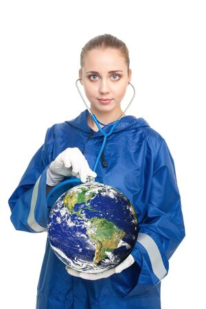 Global health problems - doctor holding a globe and listen it with sthetoscope Stock Photo - 7254374