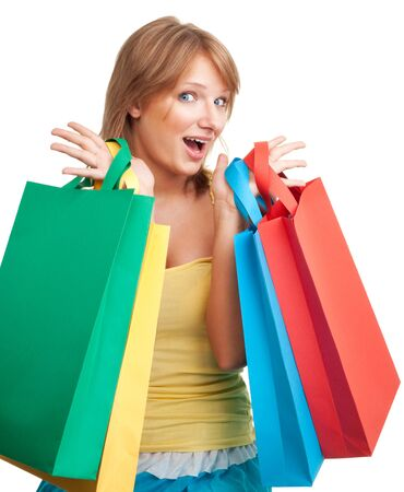 Woman with colorful bags excited about shopping day photo