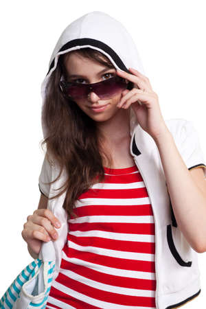supercilious: high and mighty girl in sunglasses and teen stylish clothes