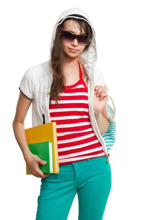 supercilious: Stylish teenage girl with books, sunglasses and white hood