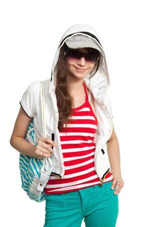 Stylish happy teenage girl smiling and look at camera Stock Photo - 7709138