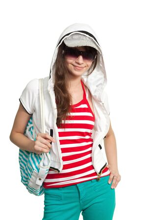 supercilious: Stylish happy teenage girl smiling and look at camera Stock Photo