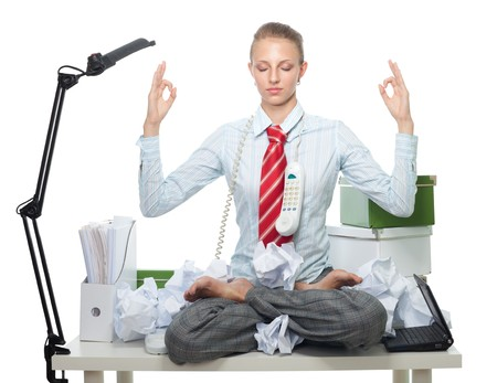 Business woman keep her head cool via mediation photo
