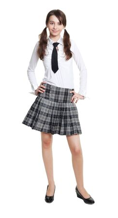 strict: full length portrait of teen schoolgirl in formal clothes Stock Photo