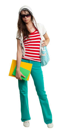 Stylish teenage girl wearing shades and posing in confident way Stock Photo - 8375058