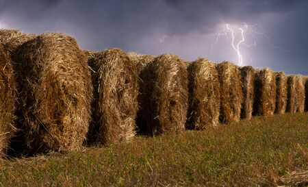haystacks in the field during the thunderstorm with lightning in the sky photo