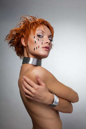 Beauty shoot of robot woman with on her face Stock Photo - 8433937