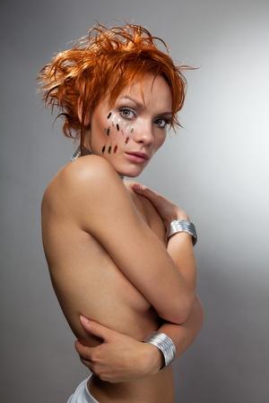 Beautiful hit-tech beauty shoot of a woman Stock Photo - 8433892