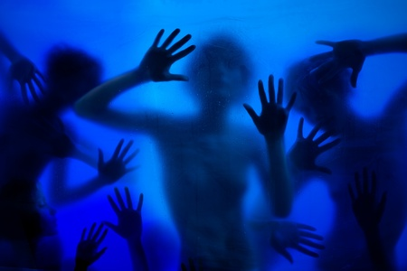 Many women, hands, palms breaking through window wanted to be heard Stock Photo - 8433778