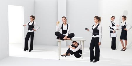 emphasising: Scene di una donna in ufficio, sottolineando le diverse fasi, situazione ed emozione nella sua carriera Archivio Fotografico