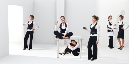 situation: Scenes of a woman in office emphasizing different stages, situation and emotion in her career