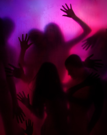 female sex: Group of people behind the transparent curtain having love and sex activity Stock Photo