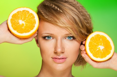 Juicy oranges and close-up beauty shoot of a beautiful woman photo