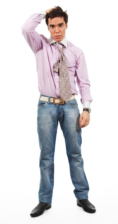 hair tie: A man shows Misunderstanding, wearing jeans, shirt and tie, isolated on white