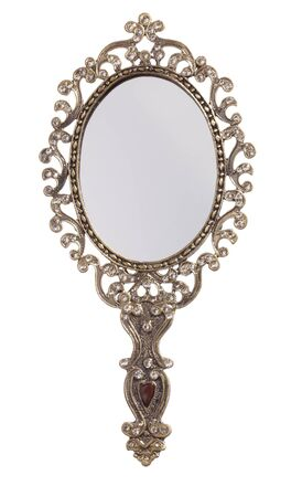 antique mirror: Retro style looking mirror, front view, isolated on white