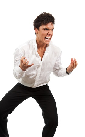 Angry man gesticulating with hands expressing extreme negativity photo