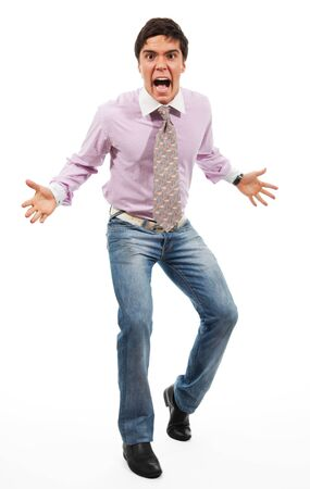 enraged: Epic fail - angry manager stand with wide parted hands in aggressive pose Stock Photo