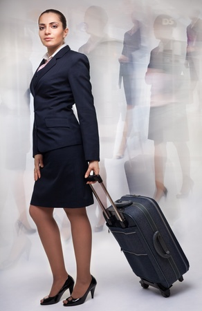 stepping: Business woman with blurred motion on the background Stock Photo