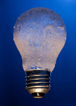 efficiently: frozen light bulb depicting environmental impact concept of electricity efficiently Stock Photo
