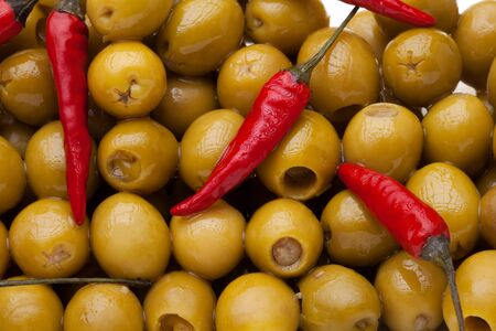 Close-up of pattern with olives and chili pepper Stock Photo - 9487044