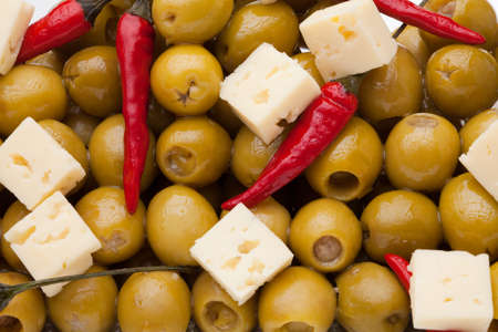 Close-up of pattern with olives and chili pepper and sheep cheese Stock Photo - 9487006