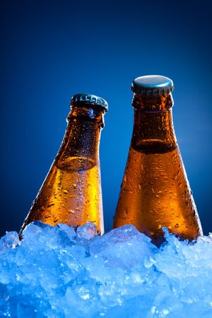 Couple cold beer bottles in ice on blue background photo