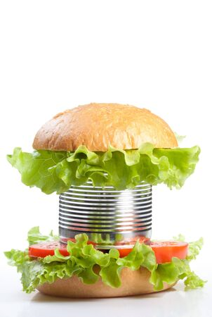 preservatives: Unhealthy canned fast food hamburger depicting concept of a lot of preservatives added Stock Photo