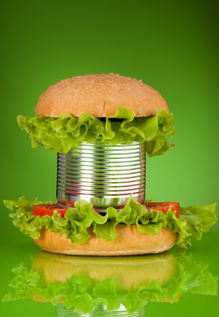 preservatives: Unhealthy canned fast food hamburger depicting concept of a lot of preservatives added on green Stock Photo